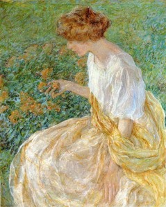 Robert Reid-The Yellow Flower AKA The Artist's Wife in the Garden
